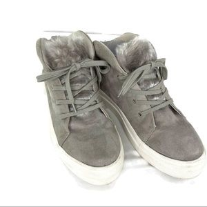 Mia Gray Suede High Top Sneakers with Faux Fur 8